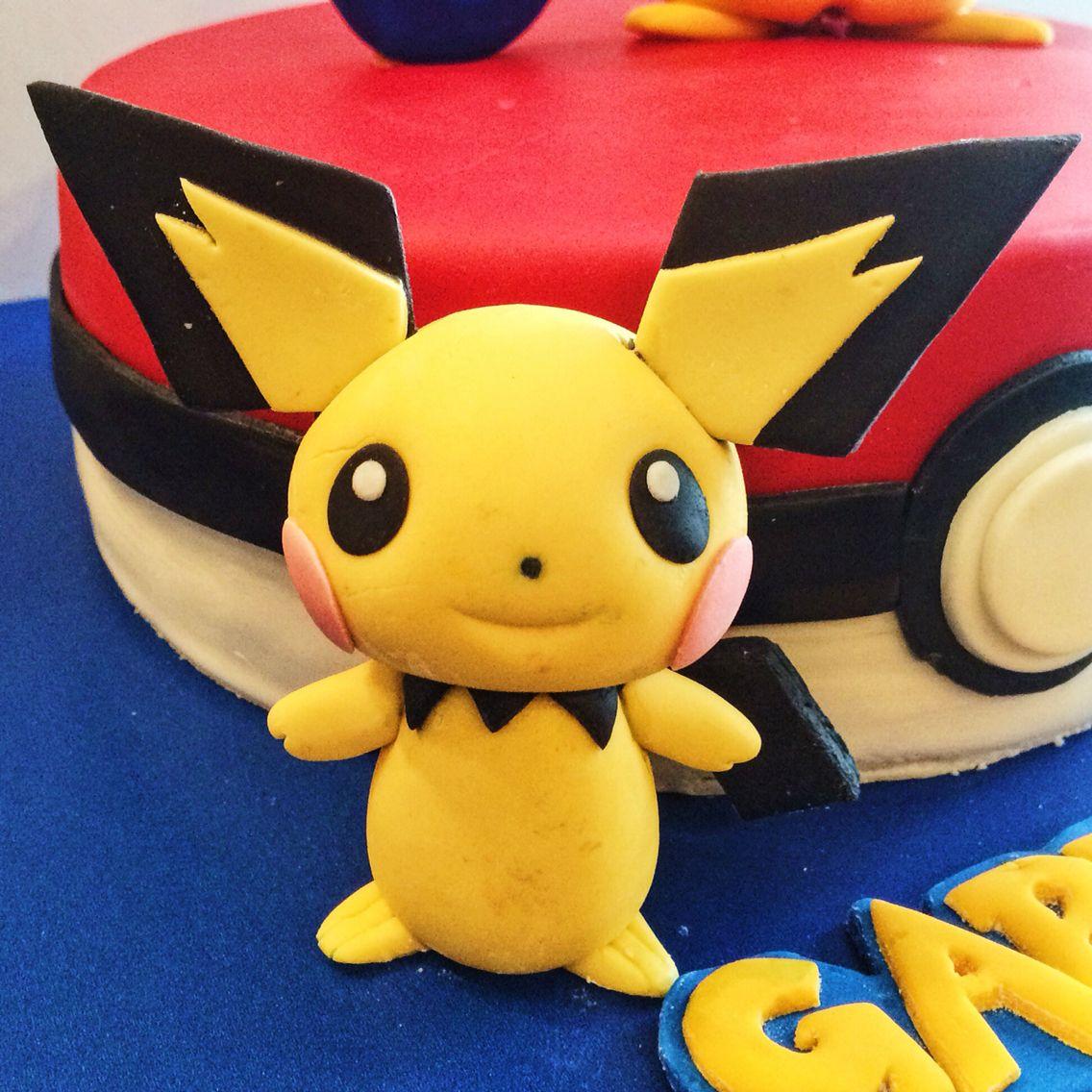 Cute fondant Pichu figure cake topper   Kager   Pinterest   Kage