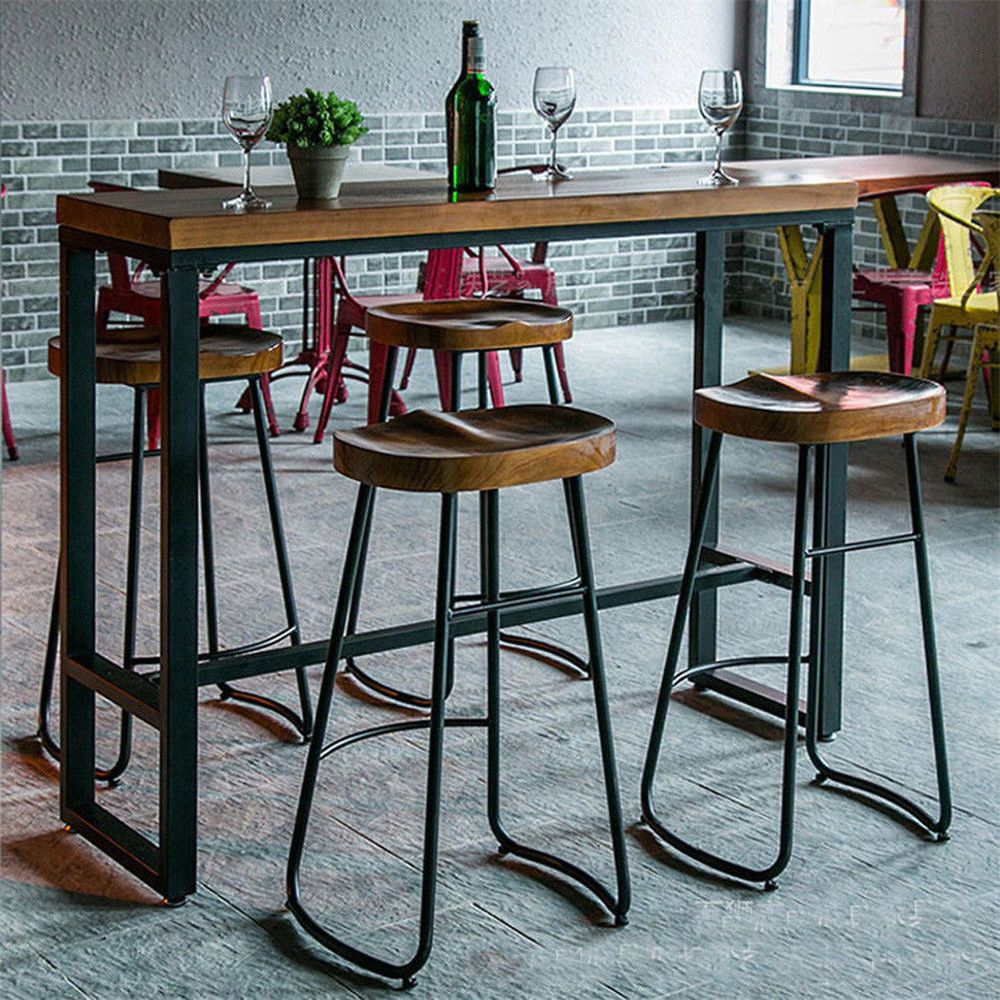 2 X Vintage Bar Stool Metal Wooden Industrial Retro Seat Kitchen