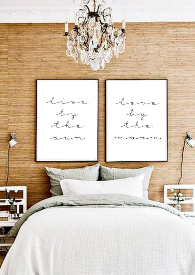 11x14 Set Of Two Live By The Sun Love Moon Typographic Etsy In 2021 Tumblr Rooms Room Decor Bedroom Posters