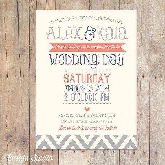 vintage rustic chic wedding invitation navy coral and seamist mint, Wedding invitations