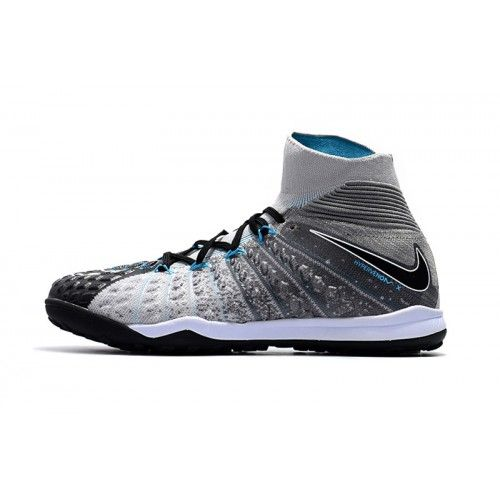 Nike Hypervenom - Barato 2017 Nike Hypervenom Phantom III DF TF Gris Negro Azul  Zapatos De 8a66829008352