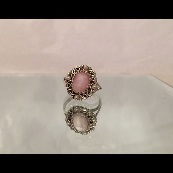 Pink Shell Silver Ring Gorgeous Pink shell set in sterling silver filligree setting. Four corners accented by sterling beading. This ring is hand made one of a kind treasure! Grab it! Jewelry Rings