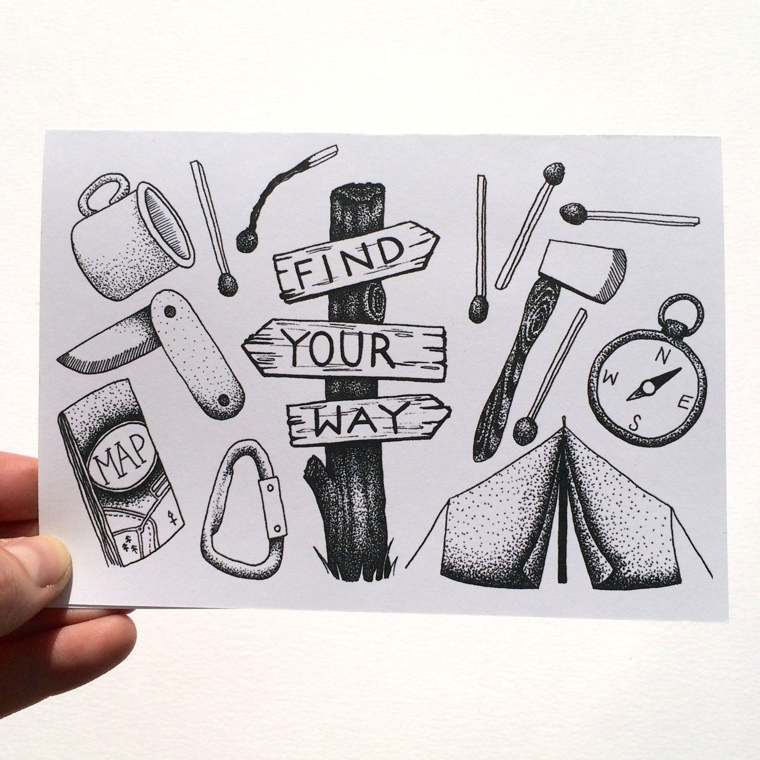Find Your Way Illustrated Greetings Card - Camping Hiking Adventure Wanderlust by WoodlandAndWise on Etsy