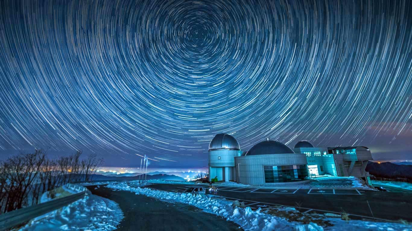 cho gyeong-chul observatory with star trails, gangwon province