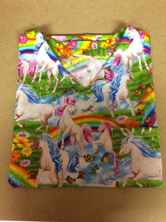 Preorder fabric due in april Unicorn scrub top rainbow unicorn