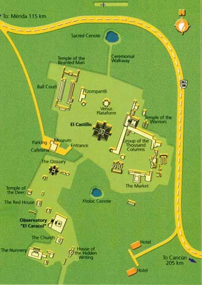 Map Of Chichen Itza Ruins More Chichen Itza Information - Chichen itza map