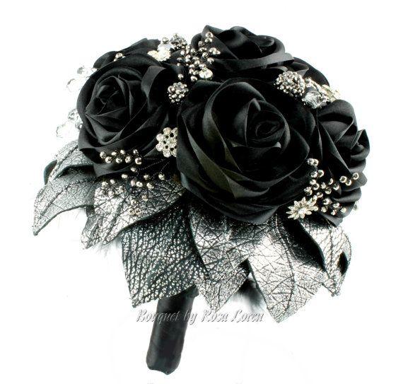 Black Wedding Flowers: Black Bouquet Silver Bouquet Black Bridal By Bouque TBy