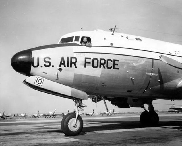 9c7df0741 A Visual History of Air Force One FDR's last Air Force one was a Douglas  DC-4 Skymaster known as