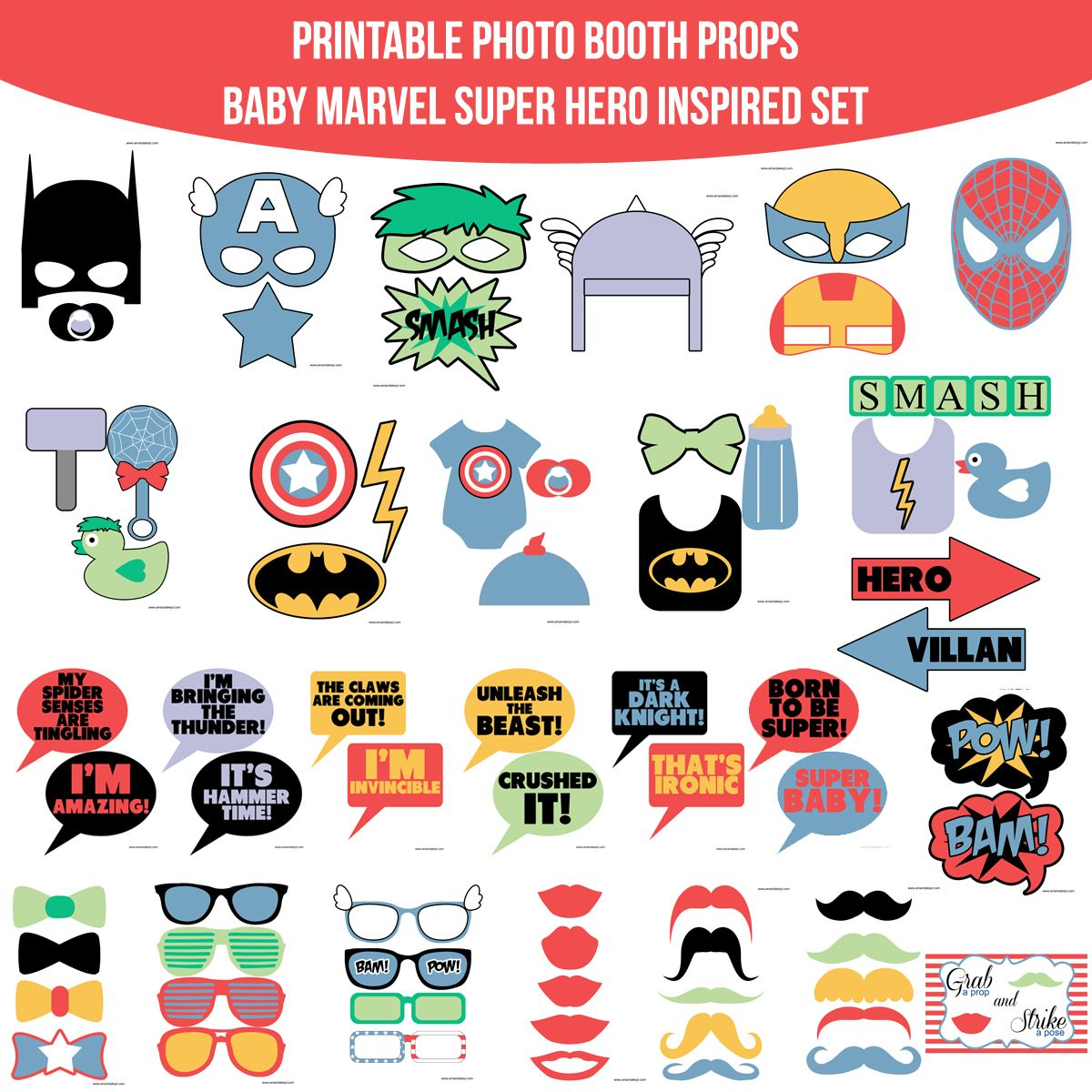 Instant Download Muted Baby Marvel Super Hero Inspired Printable Photo Booth Prop Set — Amanda Keyt DIY Photo Booth Props & More!