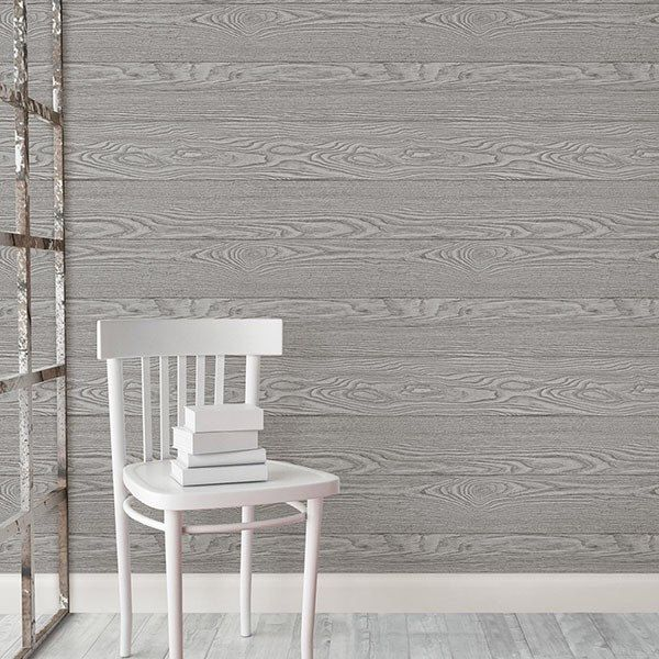 Wallpops Realistic Beachwood Peel and Stick Blue Gray Green White NU Wallpaper