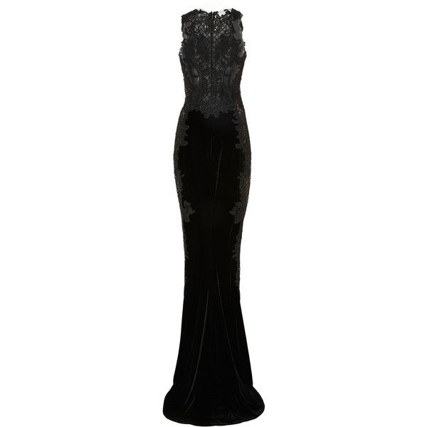 Marchesa     Velvet Embroidered Gown (€4.665) ❤ liked on Polyvore featuring dresses, gowns, gown, long dress, marchesa, vestidos, black, marchesa evening dresses, racer back dress and racerback gown
