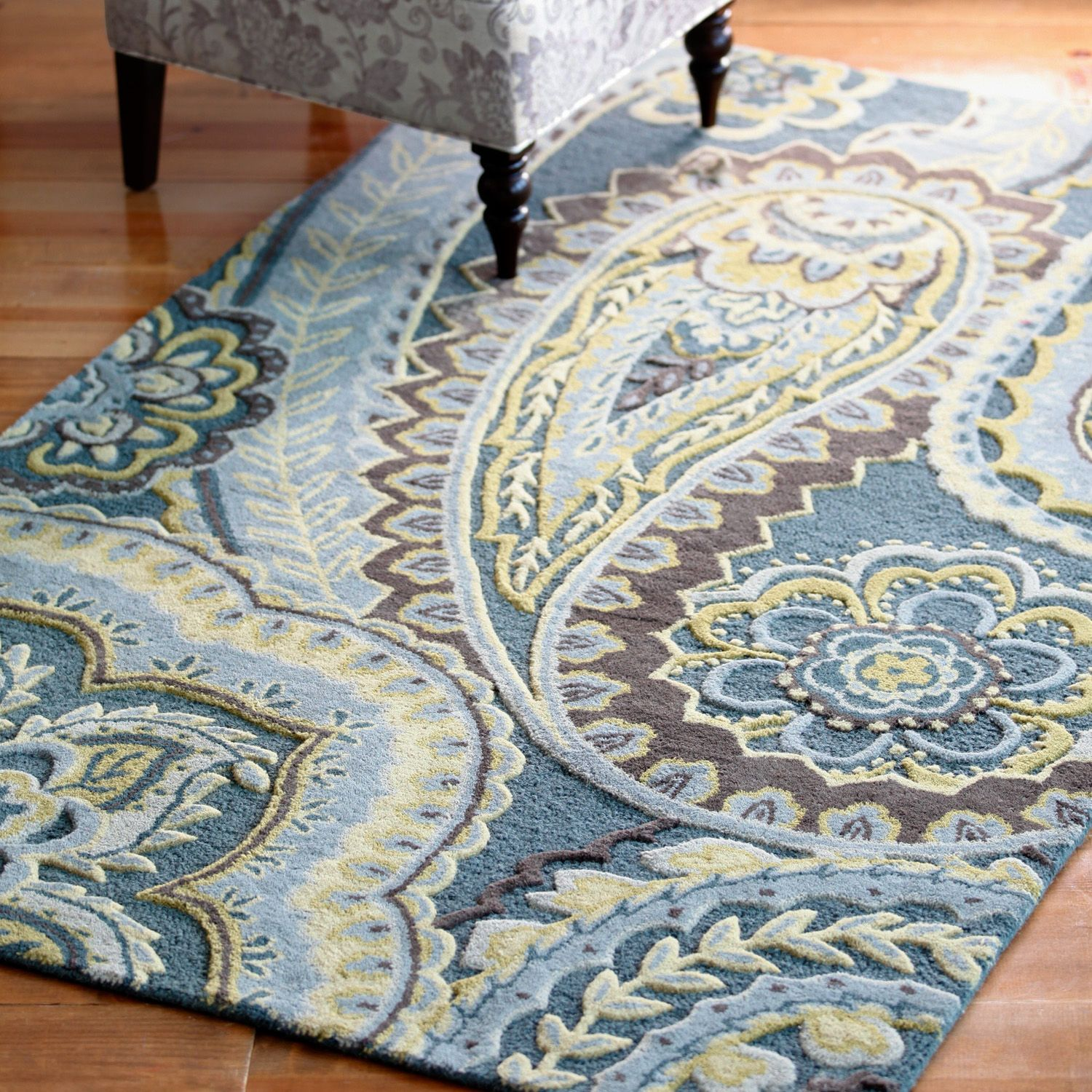 Blue Paisley Tufted Wool Rugs Paisley Rug Rugs In Living Room Tufted Rug