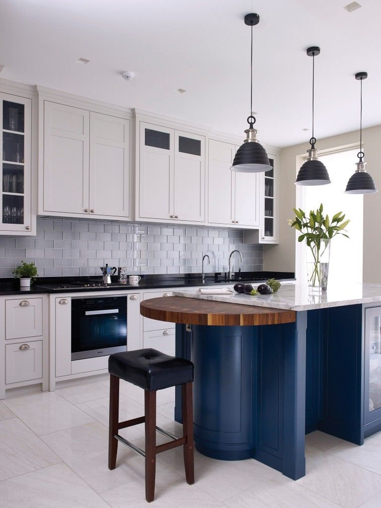 west london kitchen design. This bespoke kitchen  made in Holloways of Ludlow s West London workshop features cabinetry painted Farrow Ball Ammonite light grey and Stiffkey blue Love the Blue from F B where did they find that name