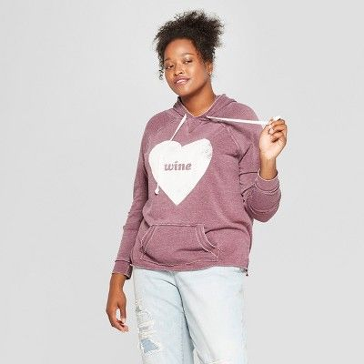 c9558b489d Women s Plus Size Heart Wine Graphic Hoodie - Grayson Threads Wine 2X   Heart
