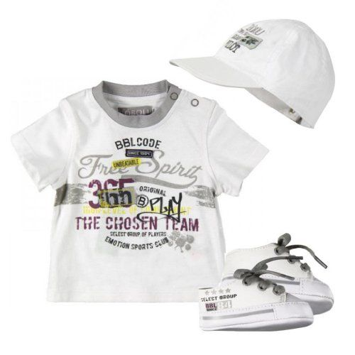 Boboli Baby Boy 3 Piece Set Printed T Shirt Hat And Shoes White