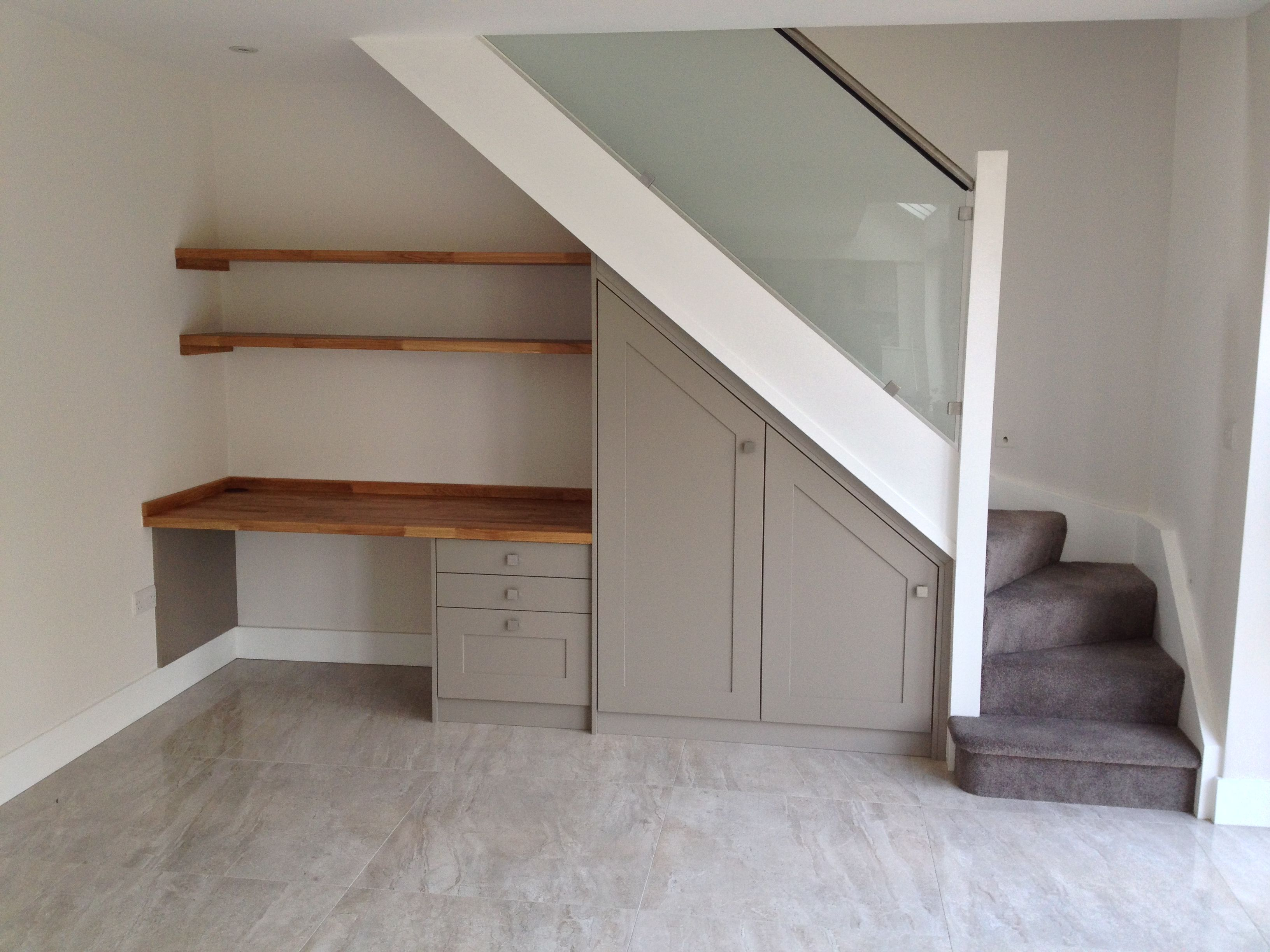 under stairs office. Under The Stairs Study/desk Space. A Great Use Of Space For Small Home Study/office. Bespoke Design By Anthony Mullan Furniture. Office E