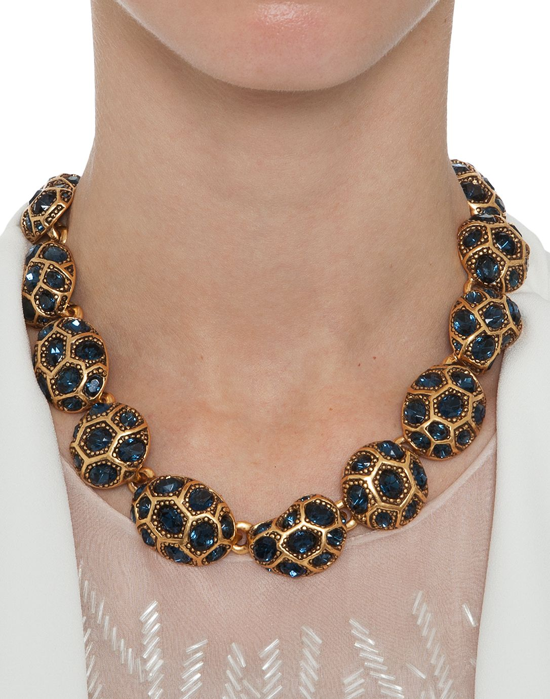 Navy Bold Pave Necklace | Oscar de la Renta | Halsbrook