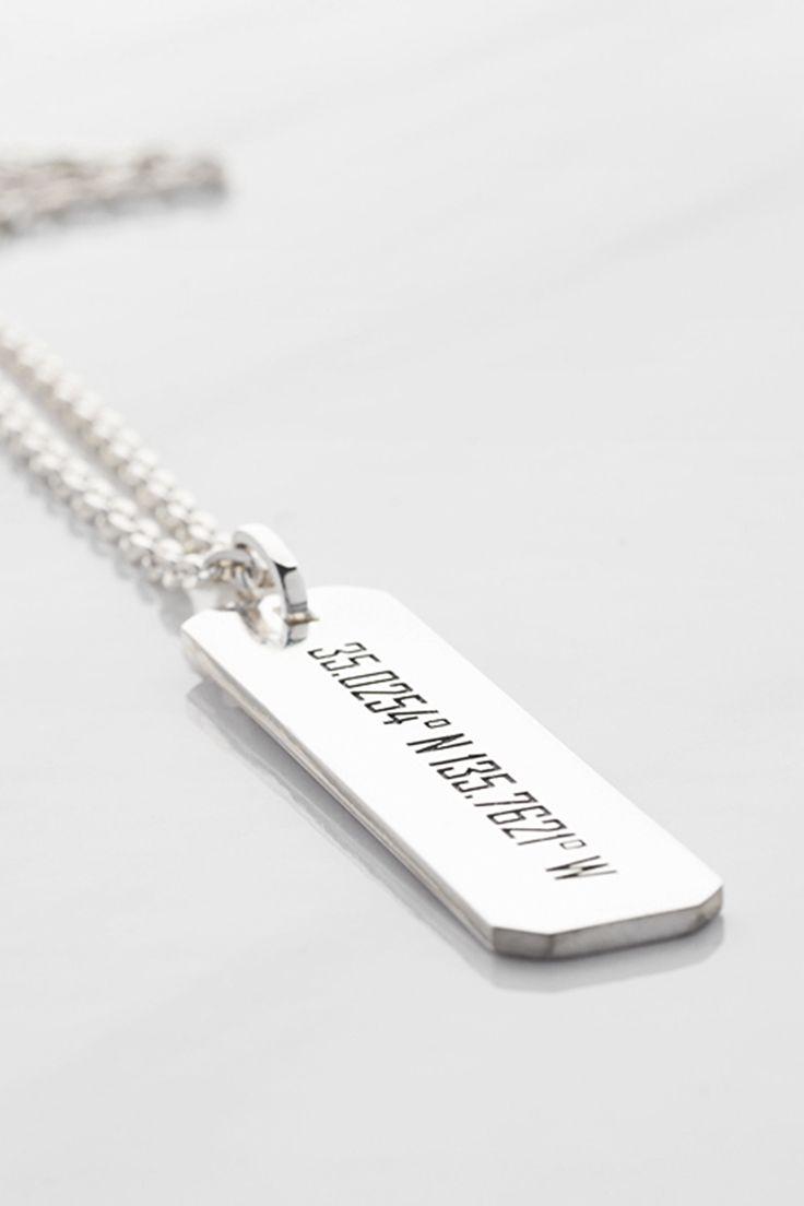 8c6da2731eb0c Dog Tag Coordinates Necklace For Men