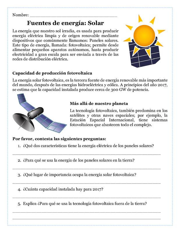 Fuentes De Energia Solar Lectura De Comprension Comprension Lectora Para Secundaria Aprender Espanol