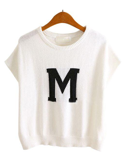 White Sleeveless M Pattern Loose Sweater US$28.36