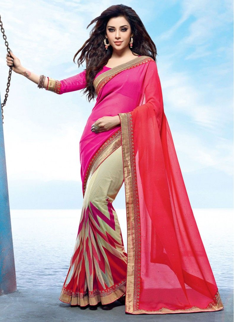 78fcad37f1b Net Crystal Beige and Hot Pink Classic Designer Saree
