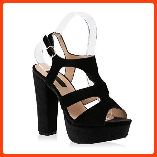 Damen Plattform High Heels Pumps Sandaletten Sandalen Peep Toe Sommer Schuhe