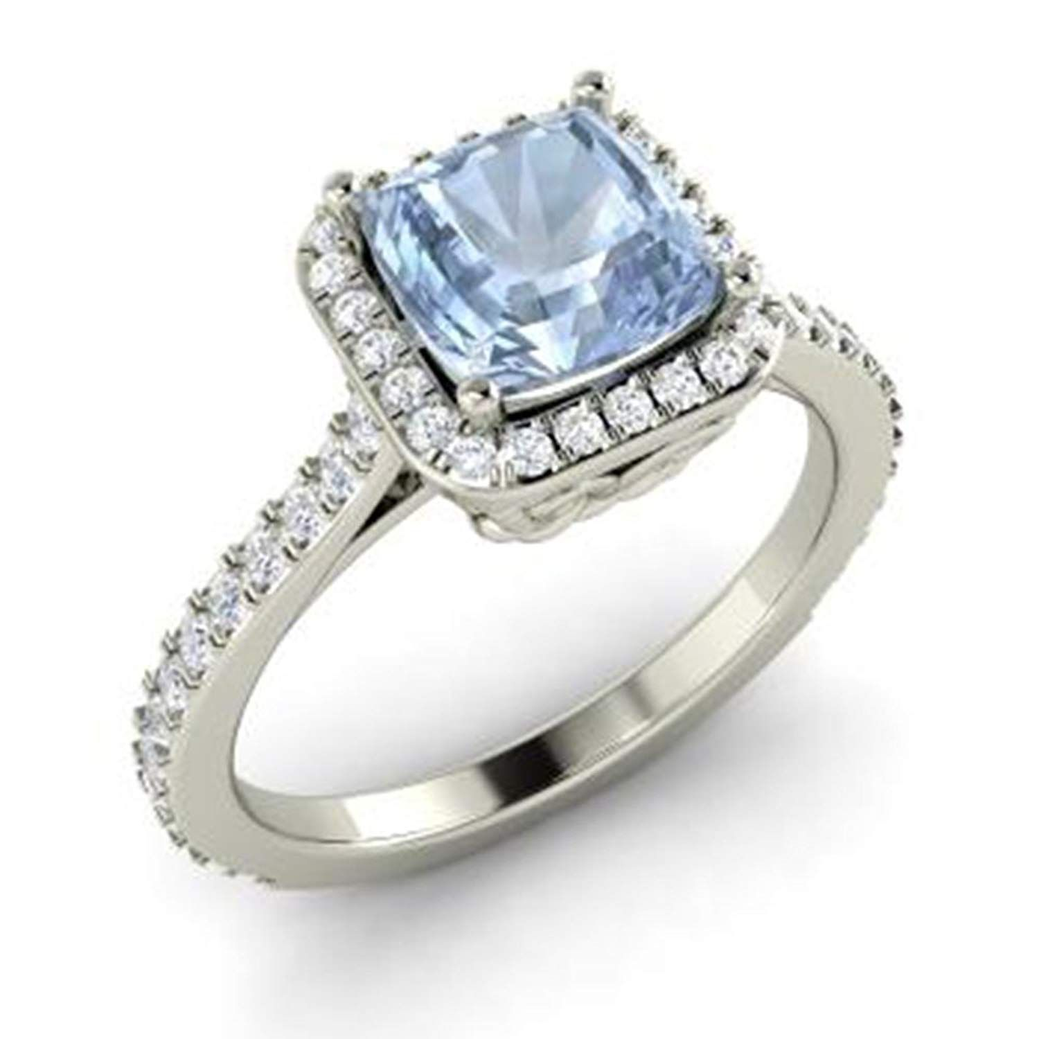 Double Oval Cut Blue Topaz /& CZ Diamond 14K White Gold Plated Engagement Halo Ring