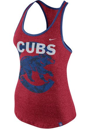 Nike Chicago Cubs Womens Red Marled Racerback Tank Top Athletic Tank Tops Chicago Cubs Womens Racerback Tank Top