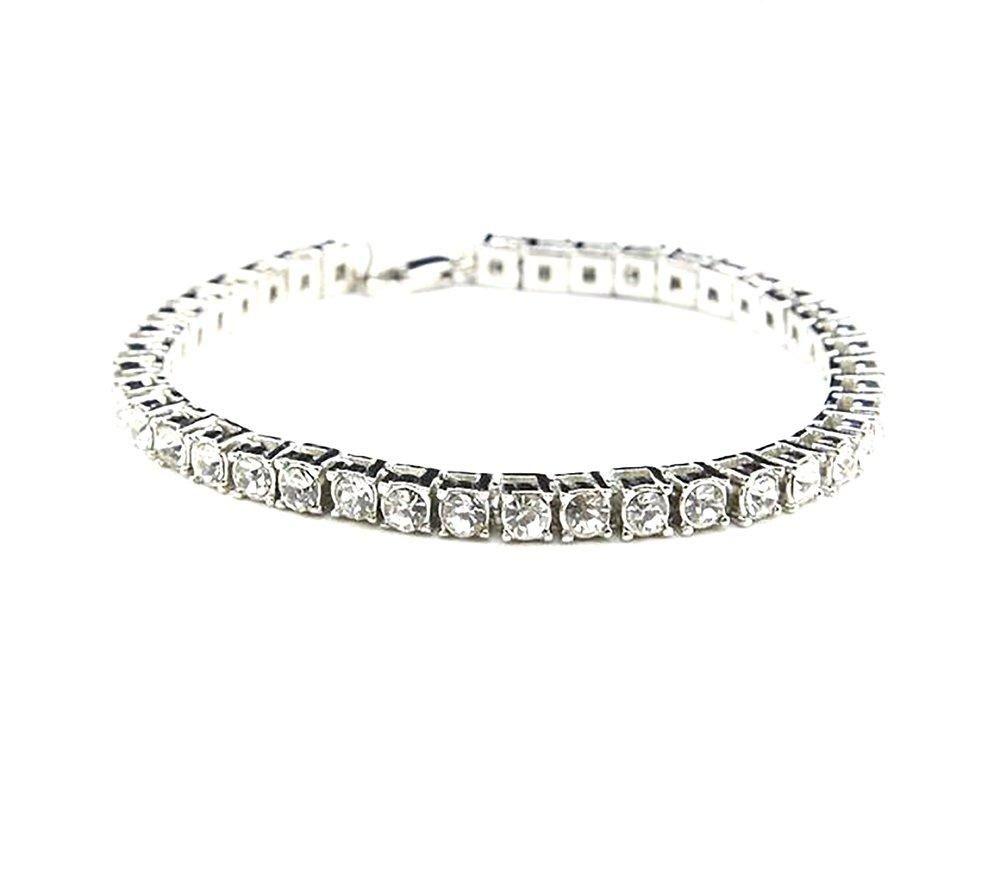 Unisex bracelet hip hop iced out rhinestones row crystal cm drop