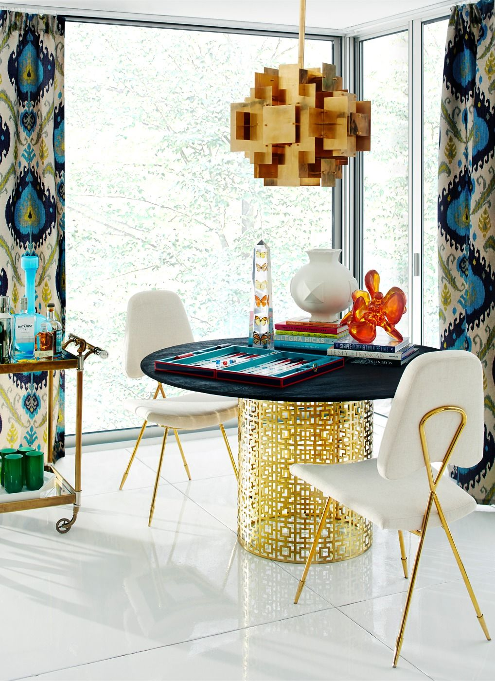 Jonathan Adler   Lighting   Puzzle Chandelier, Nixon Dining Table    Lifestyle   Portrait
