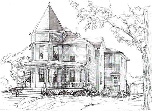 Pencil Drawings Of Old Houses Brick Home In Beaverdale Area In