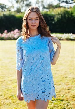 Shift Dress In Lace Cutwork (Blue)