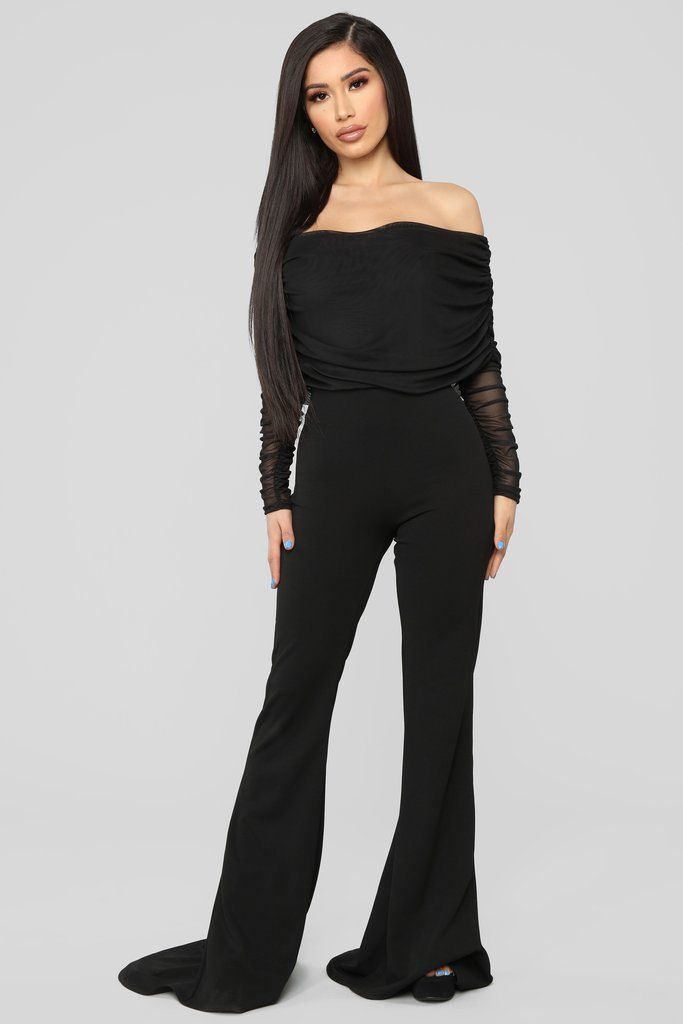 Kendall Ruched Jumpsuit - Black   Dressy outfits ...