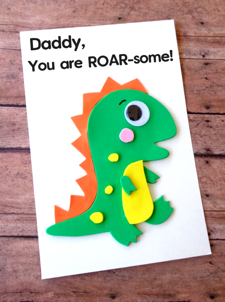 Father S Day Is Coming Up And While It Can Be Difficult To Figure Out What Colour Of Tie To Get For Dad F Dinosaur Cards Cool Birthday Cards Fathers Day Crafts