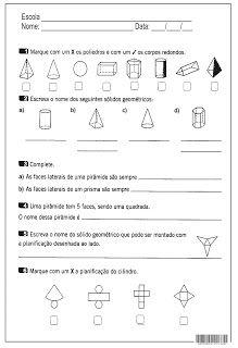Solidos Geometricos Atividades De Geometria Atividades De