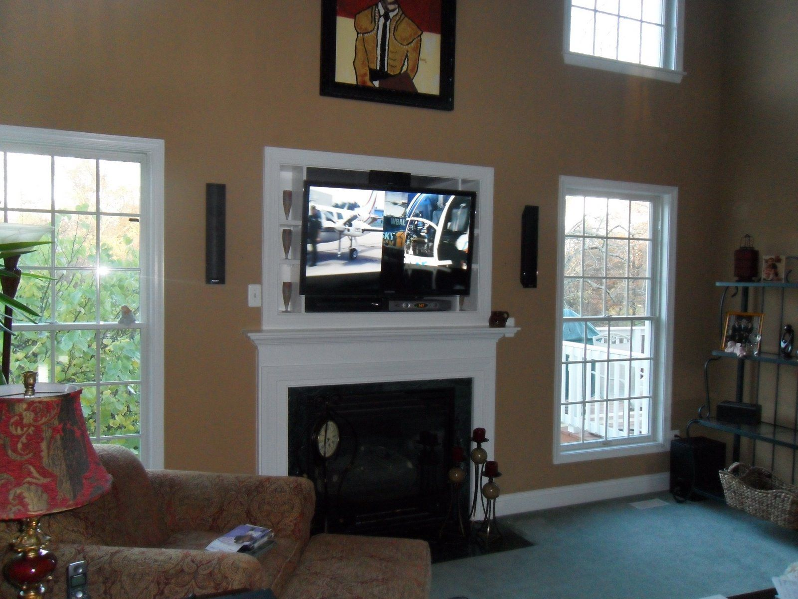 fireplace with tv above | flat screen TV installation done by ...