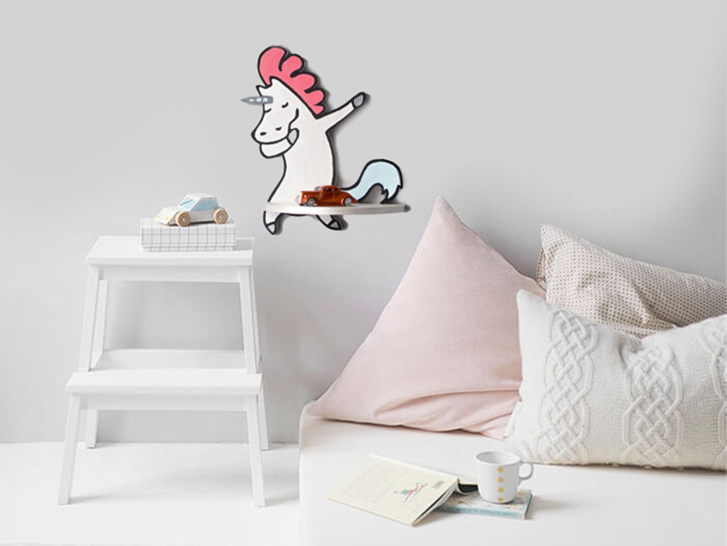 Unicorn Nursery Shelf Decor For Bedroom Wooden Shelf ...