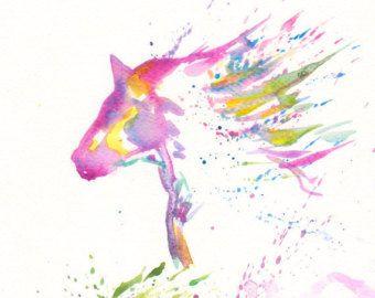 Zen Horse Art Watercolor  - Print 8x11 Animal Horse  Spring Home Decor Illustration  fuchsia purple orange