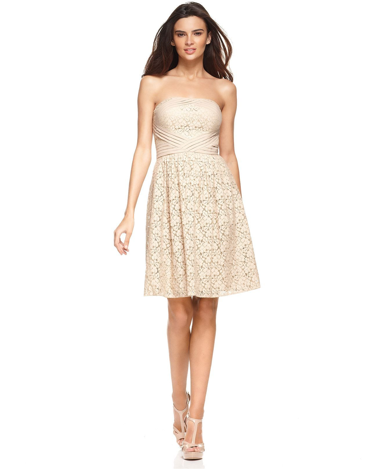 Vince camuto dress strapless lace pleated a line at macys i vince camuto dress strapless lace pleated a line at macys i ombrellifo Images