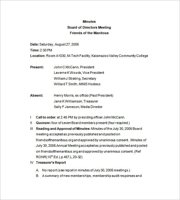 Board Meeting Minutes Template 14 Free Word Excel Pdf Samples Board Of Directors Board Meeting Meeting Agenda Template