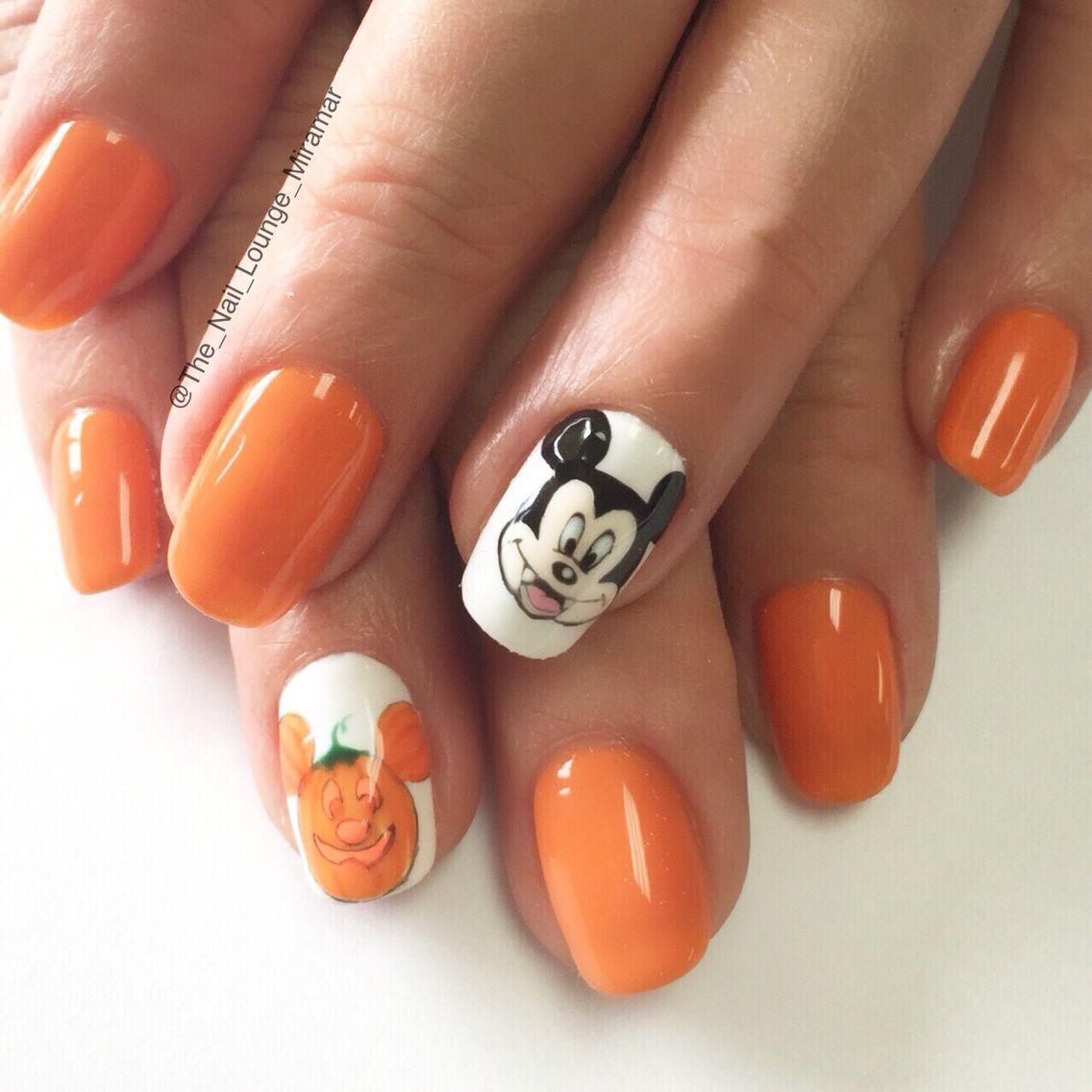 Disney S Mickey Not So Scary Halloween Nail Art Design Disney Nails Disney Nail Designs Halloween Nail Art