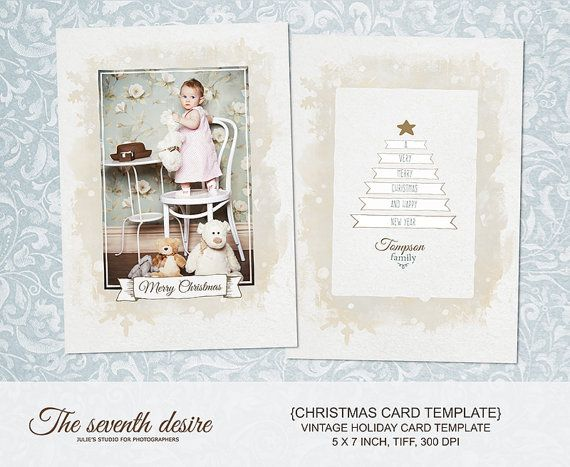 Christmas Card Template  5x7 inсh   Vintage от TheSeventhDesire