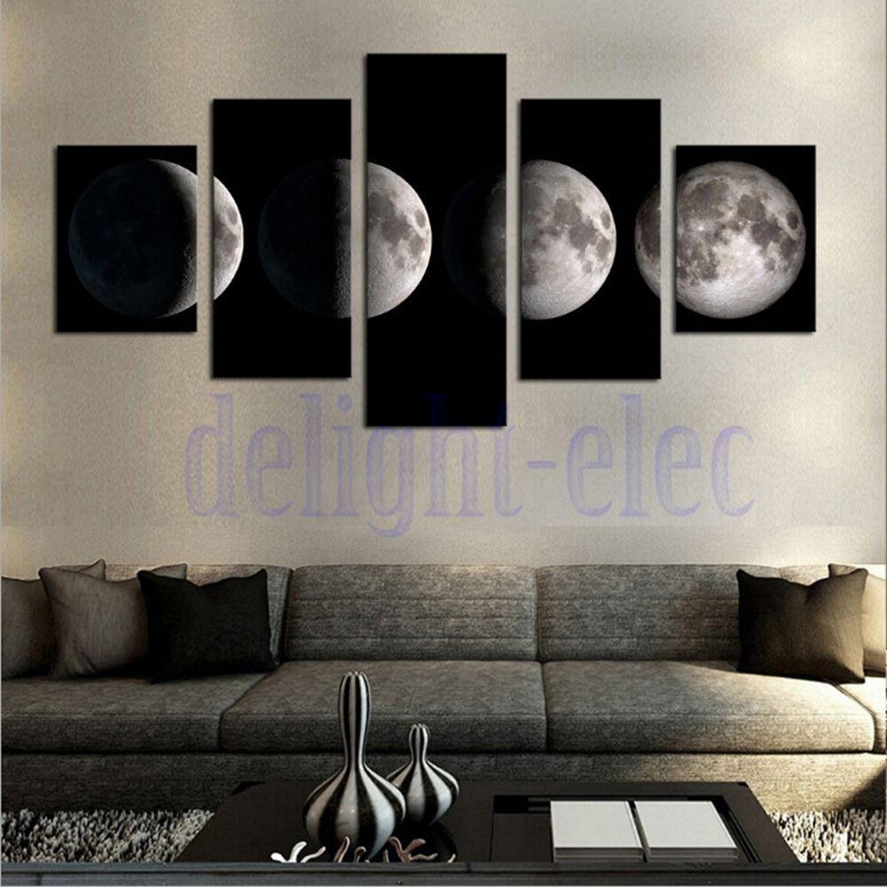 5Pcs Modern Art Print On Canvas Home Wall Decor Poster Abstract Moon ...