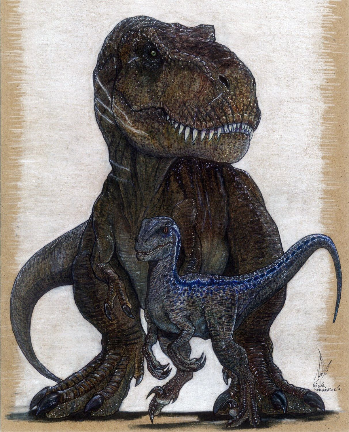 "Illustrationsforinstance: "" Blue And Rexy, Jurassic Word"