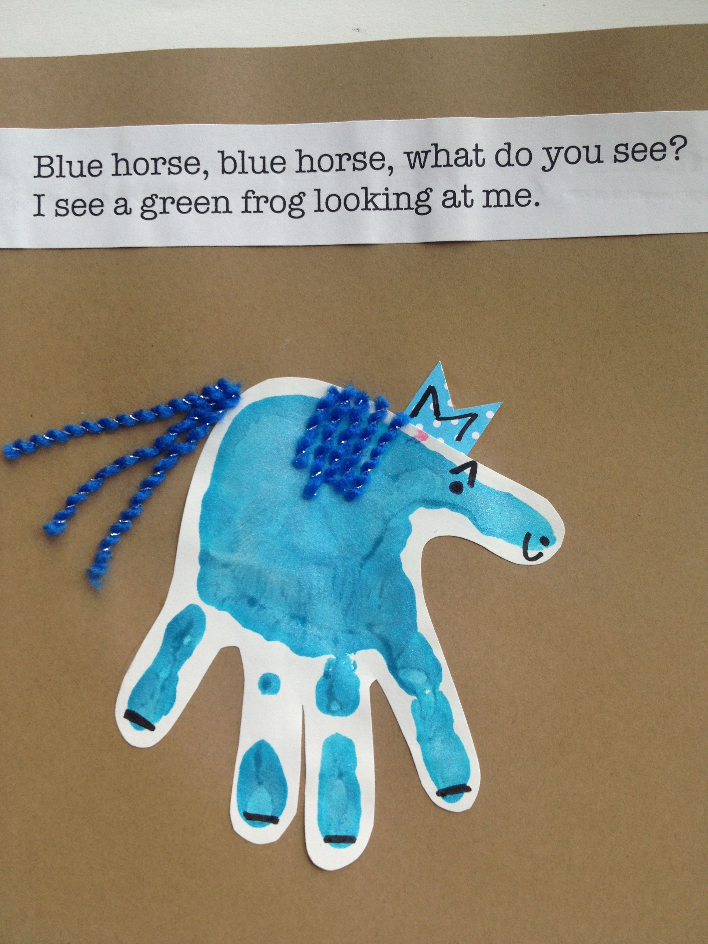 Blue horse handprint art preschool