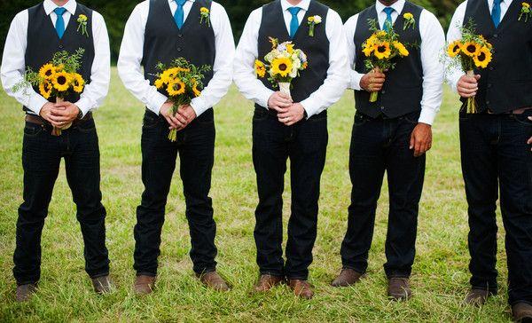 b2763509b2174 Rustic wedding groomsmen outfit idea - black vests, blue neckties. dark  wash jeans and cowboy boots {Skyryder Photography, LLC}