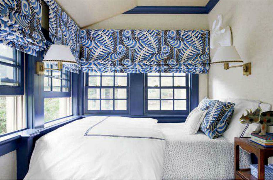 Alan Campbell Ferms window shades design by Sara Gilbane. Image courtesy of House Beautiful.