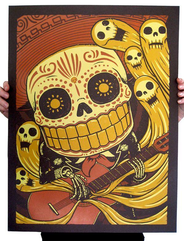 Mariachi De Los Muertos By Derek Deal Disegno Teschio Illustrazioni Arte Teschio