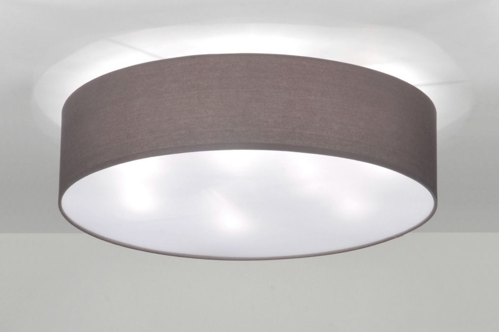 Schlafzimmer Lampe ~ Deckenleuchte 71764 modern stoff taupe rund dream home