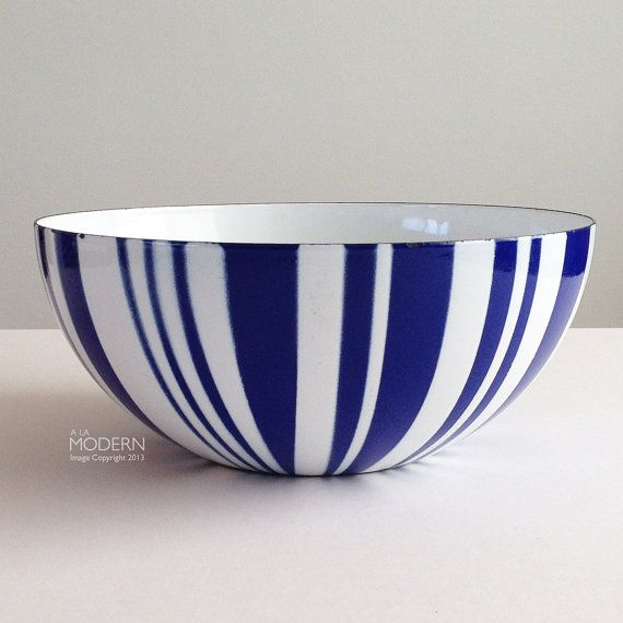 Cathrineholm Norway Blue Striped Enamel Large 9 1/2 by alamodern